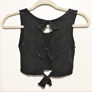 Black Crop with Bow detailing on back! NWOT!